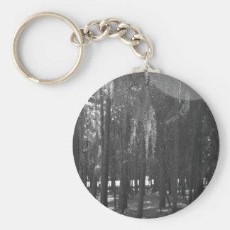 Bosque en el parque de Sholom en blanco y negro Llavero