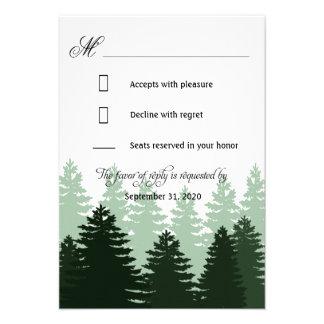 Bosque encantado verde del pino que casa las tarje comunicado personalizado
