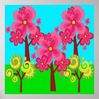 Bosque lindo del Lollipop de los árboles de la flo Posters