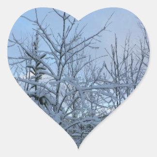 Bosque Nevado Pegatina En Forma De Corazón