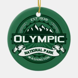 Bosque olímpico adorno navideño redondo de cerámica
