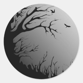 bosque oscuro pegatinas redondas