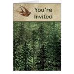 Bosque para la invitación de los árboles felicitaciones