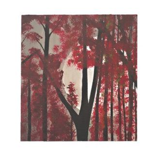 Bosque rojo bloc de notas