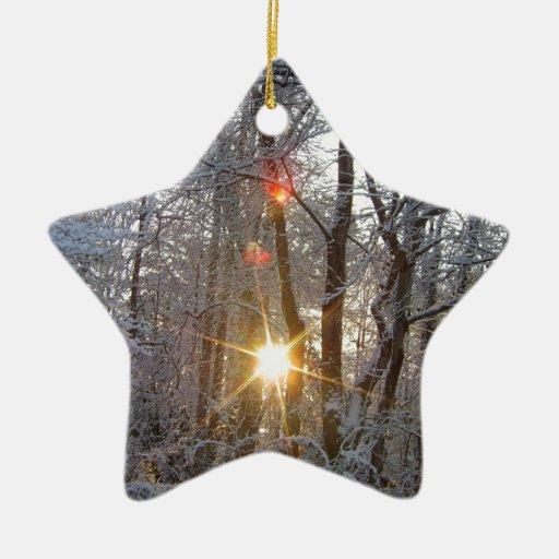 Bosque Sun de CricketDiane Nevado de la salida del Adorno Navideño De Cerámica En Forma De Estrella