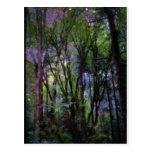 Bosque surrealista de las luces de hadas tarjeta postal