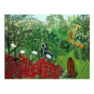 Bosque tropical con los monos tarjetas postales