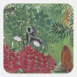 Bosque tropical con Monkeys, 1910 (aceite en lona) Pegatina Cuadrada