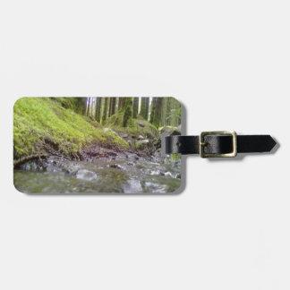 Bosque y agua etiquetas de maletas