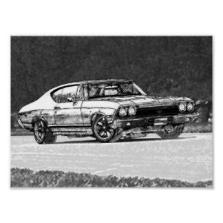 Bosquejo 1968 del lápiz de Chevelle Impresiones