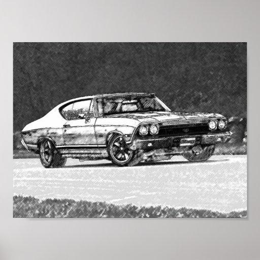 Bosquejo 1968 del lápiz de Chevelle Póster