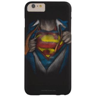 Bosquejo 2 del pecho del superhombre funda para iPhone 6 plus barely there