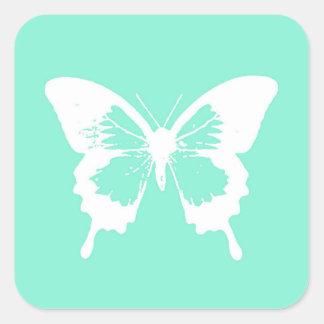 Bosquejo, aguamarina y blanco de la mariposa pegatina cuadrada