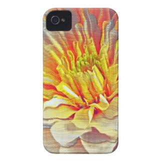 Bosquejo amarillo del lápiz de la flor de la dalia Case-Mate iPhone 4 fundas