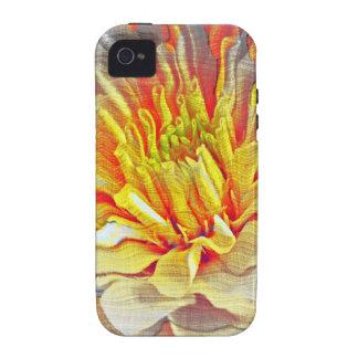 Bosquejo amarillo del lápiz de la flor de la dalia iPhone 4 carcasas