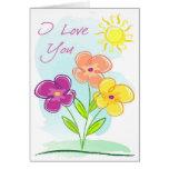 Bosquejo-Amor de 3 flores Felicitacion