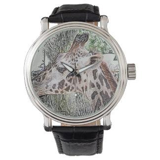 bosquejo animal coloreado jirafa de la selva del relojes