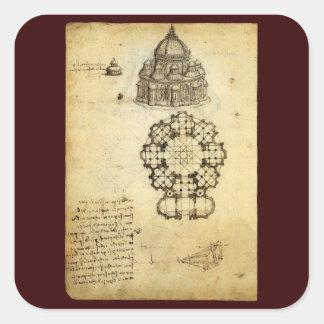 Bosquejo arquitectónico de Leonardo da Vinci Pegatina Cuadrada