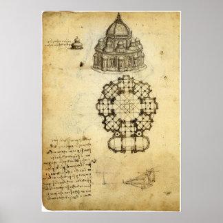 Bosquejo arquitectónico de Leonardo da Vinci Póster