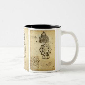 Bosquejo arquitectónico de Leonardo da Vinci Taza De Dos Tonos