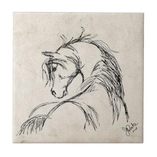 Bosquejo artsy de la cabeza de caballo tejas  ceramicas
