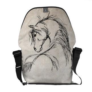 Bosquejo artsy de la cabeza de caballo bolsas de mensajeria