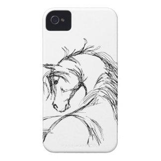 Bosquejo artsy de la cabeza de caballo carcasa para iPhone 4 de Case-Mate
