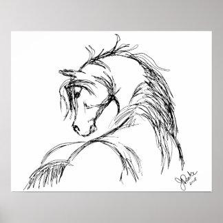 Bosquejo artsy de la cabeza de caballo impresiones