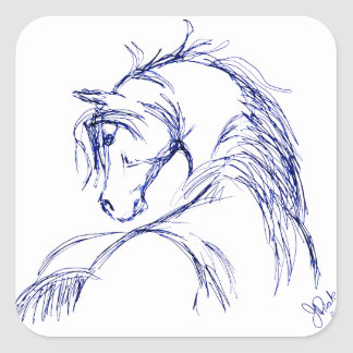Bosquejo artsy de la cabeza de caballo pegatina cuadradas personalizadas