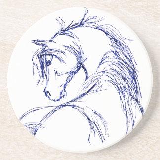 Bosquejo artsy de la cabeza de caballo posavaso para bebida