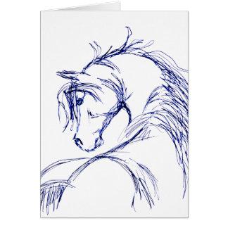 Bosquejo artsy de la cabeza de caballo tarjeta pequeña
