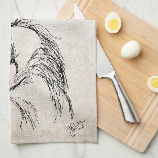Bosquejo artsy de la cabeza de caballo toalla de cocina