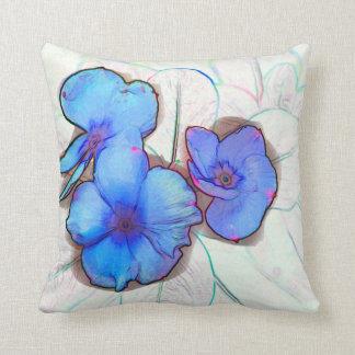bosquejo azul de la flor de molinillo de viento cojín decorativo
