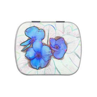bosquejo azul de la flor de molinillo de viento frascos de caramelos