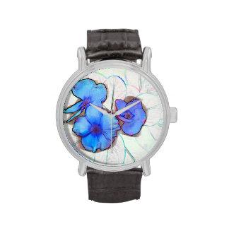 bosquejo azul de la flor de molinillo de viento relojes