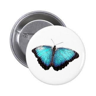 Bosquejo azul de la mariposa pin redondo de 2 pulgadas