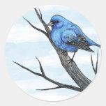 Bosquejo azul del pájaro etiquetas