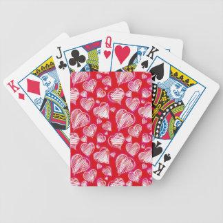 Bosquejo blanco de los corazones baraja de cartas