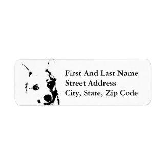 Bosquejo blanco y negro de la tinta del perro del etiquetas de remite
