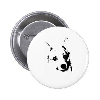 Bosquejo blanco y negro de la tinta del perro del  pin redondo de 2 pulgadas