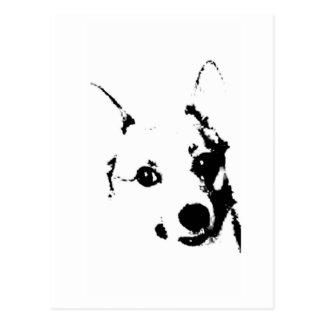Bosquejo blanco y negro de la tinta del perro del postales