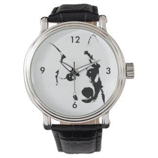 Bosquejo blanco y negro de la tinta del perro del relojes de pulsera