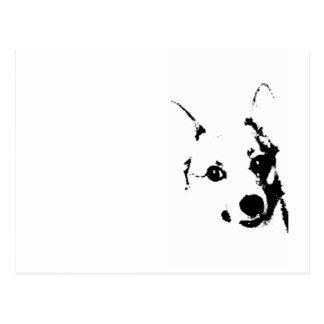 Bosquejo blanco y negro de la tinta del perro del tarjeta postal