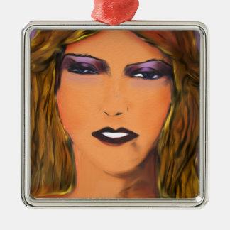 Bosquejo bochornoso de la mujer adorno navideño cuadrado de metal