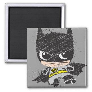 Bosquejo clásico de Chibi Batman Imán Cuadrado