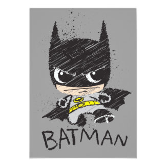 Bosquejo clásico de Chibi Batman Invitación 12,7 X 17,8 Cm