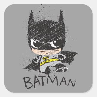 Bosquejo clásico de Chibi Batman Pegatina Cuadrada
