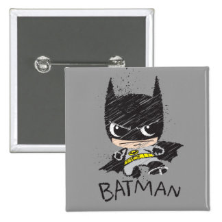 Bosquejo clásico de Chibi Batman Pin Cuadrada 5 Cm