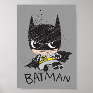 Bosquejo clásico de Chibi Batman Póster