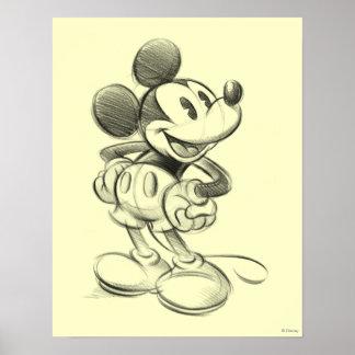 Bosquejo clásico de Mickey el | Póster